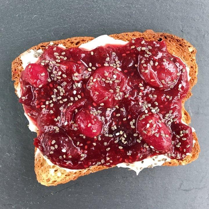 cranberry jam on toast