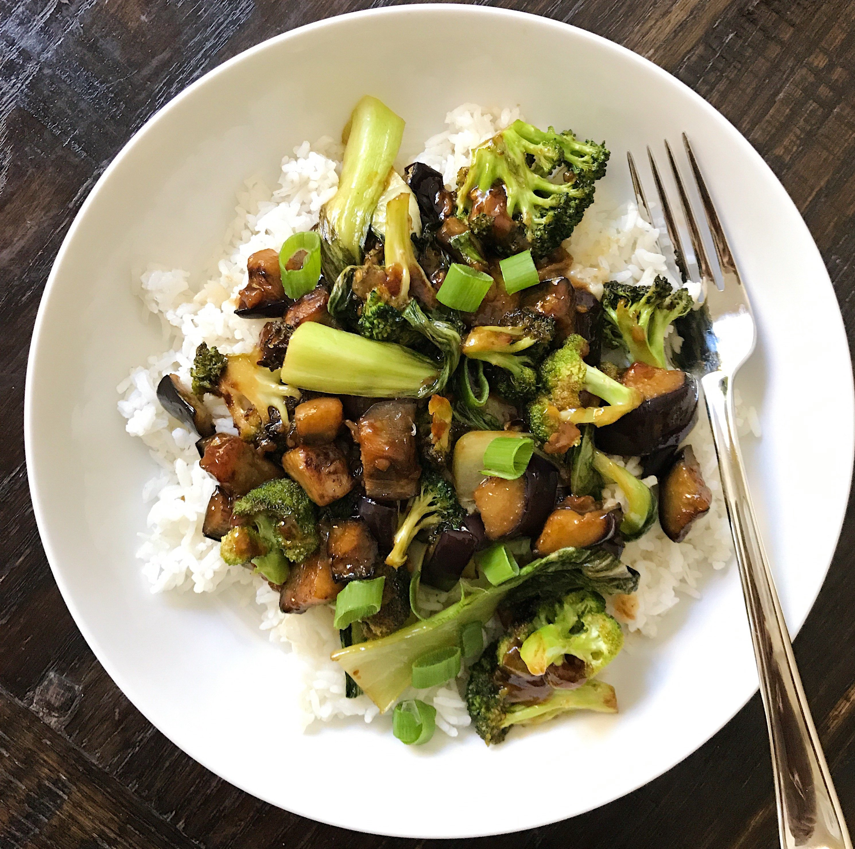 eggplant broccoli bok boy garlic sauce gluten free #glutenfreerecipes www.healthygffamily.com